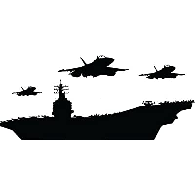 "ChicWalls Removable US Navy Aircraft Carrier Warship Airplane Jets Wall Art Décor Decal Vinyl Sticker Mural Nursery Boys Room Black 23""X7"": Home & Kitchen"