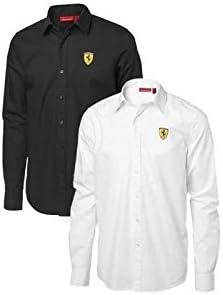 Ferrari Camisa Hombre Escudo Relieve Manga Larga Negro o Blanco: Amazon.es: Coche y moto