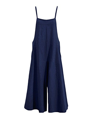 Women Summer Loose Linen Suspender Overalls Jumpsuit Bib Trousers Wide Leg Pants Plus Size (US L=Tag XL, Blue)