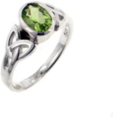 Sterling Silver Celtic Knot and Green Genuine Peridot Ring(Sizes 4,5,6,7,8,9,10,11,12,13,14,15)
