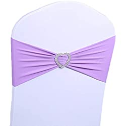 10Pcs Spandex Heart Chair Cover Sashes Elastic Chair Bow Band With Buckle Slider Sashes Bows For Wedding Party Engagement Event Birthday Graduation Meeting Banquet Decoration (Violet)