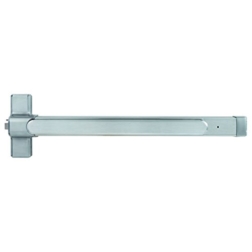 Stanley Commercial Hardware Commercial Heavy Duty Rim Exit Device with Hex Dogging for 4 Wide Door from the QED100 Collection Brushed Chrome Finish Electrified Latch Retraction with Request to Exit