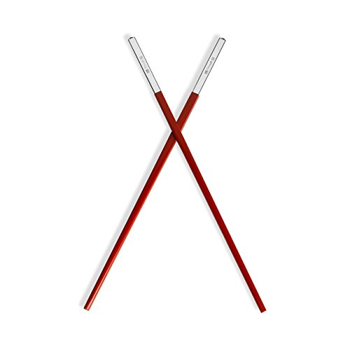 Christofle Silver Plated Uni Red Chinese Chopsticks - Christofle Silver Flatware