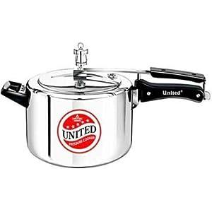 United Magic Induction Base Aluminium Pressure Cooker, 5 L, Silver