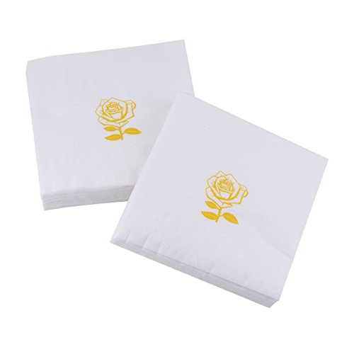 Cocktail Napkins 100 Pack Yellow Gold Rose Disposable Paper Napkins for Party Birthday Bridal Baby Shower Wedding Anniversary and Special Occasions