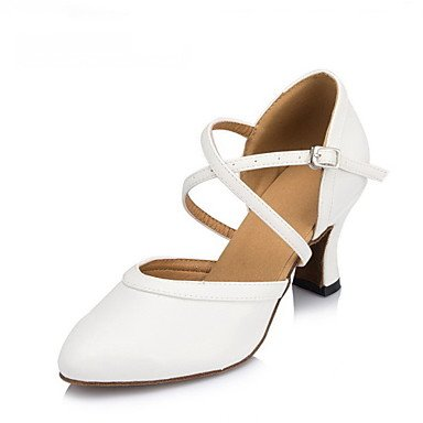 XIAMUO Nicht anpassbar - Die Frauen tanzen Schuhe Leder/Lack Leder Leder/Lack moderne Heels kubanischen HeelPractice/Beginner/, weiß, EU/US6 36/UK4/CN 36