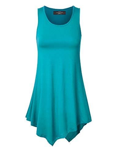 - Made By Johnny WT671 Womens Handkerchief Hem Tank Tunic Top L Jade