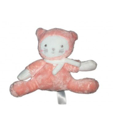Doudou Chat blanc rose TEX Baby Carrefour 16 cm: Amazon.es: Bebé
