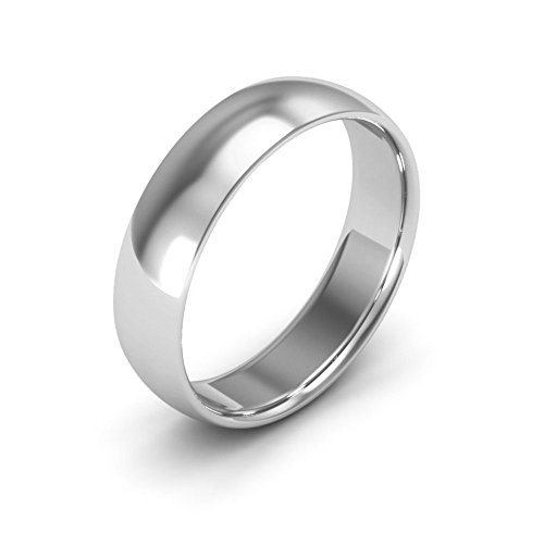 10K White Gold men's and women's plain wedding bands 5mm comfort-fit light, 8.25 -