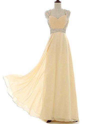 Vantexi Women's Beaded Straps Chiffon Long Prom Bridesmaid Dress Champagne 30