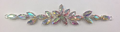 (ModaTrims AB Rhinestones on SILVER Metal Buckle Applique for Costume and Hair Accessory - 2 PC (AB Crystals, SILVER Frame, 6 inch x 1 inch) - BKL-RHS-016-AB-2PC)