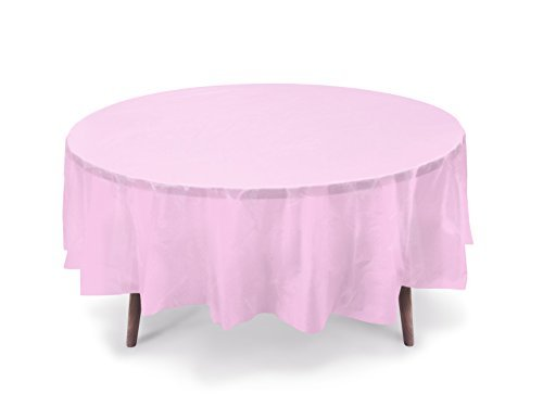 - Gift Expressions 5-Pack Premium 84 Inch. Disposal Round Plastic Table Cover- Outdoor, Indoor Party, Picnic, Events, Ceremony(Light Pink)