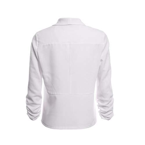 Travail Manteau Femme Manches Ouvert 4 3 Cardigan Veste Court Blazer de Bringbring Blanc Avant PxAqwFn