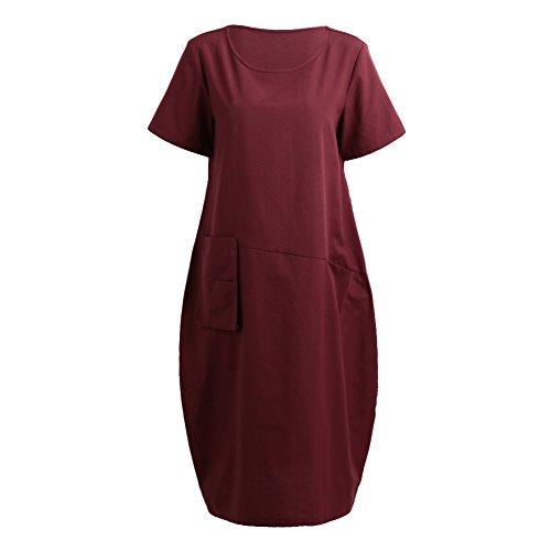 529039b955 Romacci Women Baggy House Dress Casual Solid Loose Long Dress O-Neck Short  Sleeve Dress