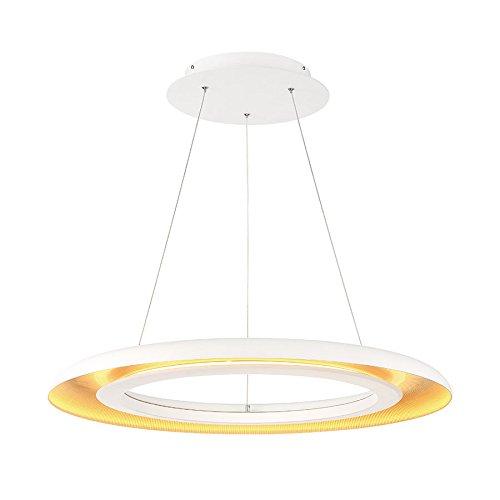 WAC Lighting PD-21828-WT/GR Omega LED Pendant Light Fixture, White Gold Ribbed
