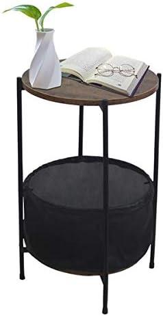 HONERENY Black MDF Countertops Wrought Iron Base Single Layer Snack Table