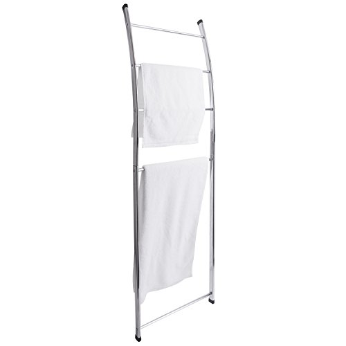 MyGift 4 Bar Chrome-Plated Bath Towel Ladder, Wall-Leaning Drying Rack Stand