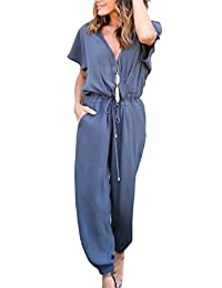 Coolred-Mujer Manga Corta Elegante Cierre Bottom Pure Color Formal Jumpsuit