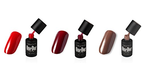 OneDor® One Step Gel Polish UV Led Cured Nail Polish No Base or Top Coat Nail Need (101719-Candy Red,Wine,Coffee)