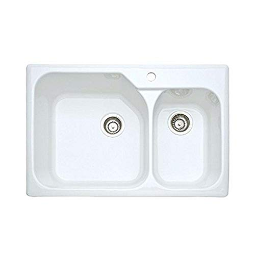 Rohl 6317-00 33-Inch Allia Double Basin Drop-In Fireclay Kitchen Sink with Single Faucet Hole, White
