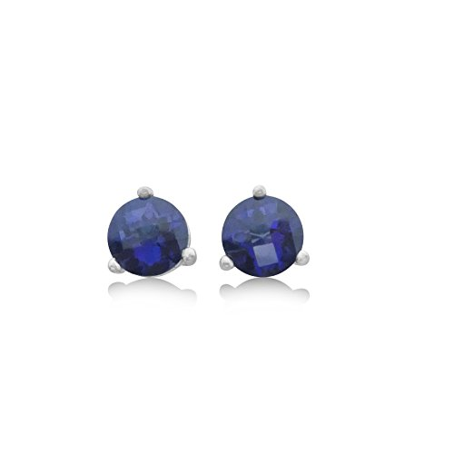 (Royal Blue Topaz Stud Earrings - 1.5 CT Total, Claw Set in 925 Sterling Silver Post)