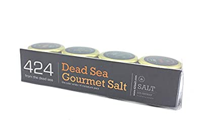 Gourmet Dead Sea Salt 4-Pack - Organic Dead Sea Salt the - The Color Series - Including Kosher - Merlot/Golden/Black Coarse/Smoked 0 .88oz