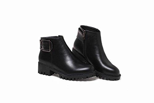 Mee Shoes Damen chunky heels Plateau Reißverschluss ankle Boots Schwarz