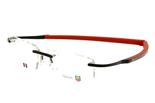 Tag Heuer Eyeglasses TH0342 014 Carbon Fiber Rubber & Titanium Authentic Black Orange