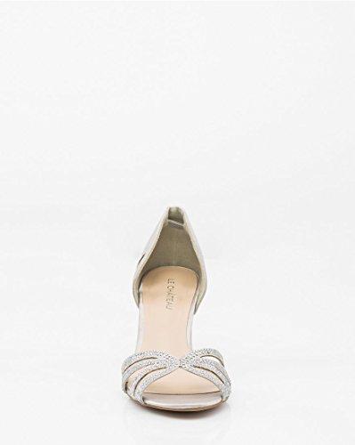 CH D'Orsay Women's Silver Satin Sandal TEAU Jewel LE Embellished YxAfdqYW