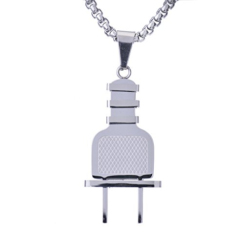 metaltree98 Men's Hip Hop Luxury New Mini Stainless Steel Electric Plug Pendant with 24