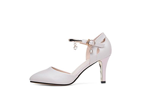 NEB ANGEL Women's Ankle Strap Pumps D Orsay Pumps Chunky Hee