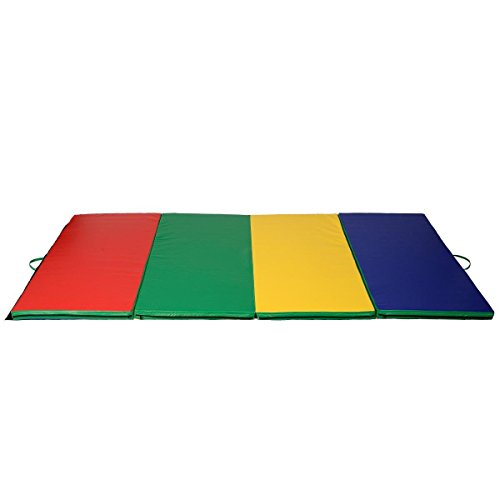 4'x10'x2'' Gymnastics Mat Folding Panel Thick Gym Fitness Exercise Multicolor by BUY JOY