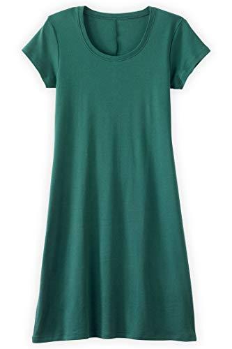 Fair Indigo Fair Trade Organic Scoop Neck T-Shirt Dress (L, Clover Green)