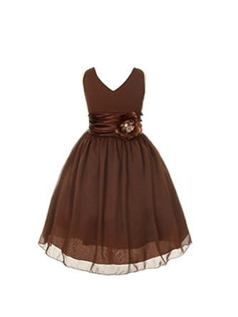 Amazon.com: V-Neckline Chiffon Flower Girl Dress: Clothing