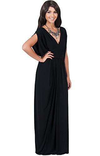 KOH KOH Plus Size Womens Long V-Neck Summer Grecian Greek Bridesmaid Wedding Party Guest Flowy Formal Evening Slimming Vintage Maternity Gown Gowns Maxi Dress Dresses, Black 2XL 18-20 -