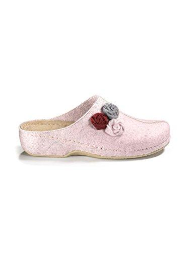 Avena Damen Wollfilz-Massage-Pantolette Rosa