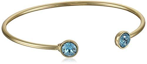 14k Gold Plated with Aquamarine Swarovski Crystal March Bangle Bracelet 14k Marine Bracelet