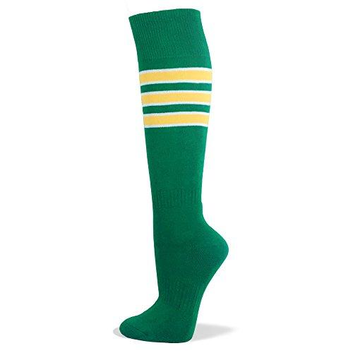 Green with White/Yellow Stripe Like Athletics Similar Style Knee High Sport Socks