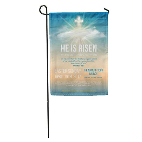 Semtomn Garden Flag Christian Religious for Easter Celebration Church Text He is Risen Home Yard House Decor Barnner Outdoor Stand 28x40 Inches Flag