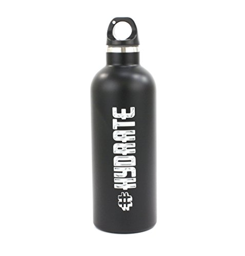 Matte Black 500ml #HYDRATE drinking flask 100% Stainless Steel for a Sporty Gift by None