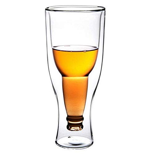 AOLVO Creative Double Walled Beer Glass, 3D Beer Bottle Shaped Insulated Home Barware, DIY Clear Juice Cup, Tumblers for Beers, Cocktails, Spirits, Coffe Or Other Hot & Cold -
