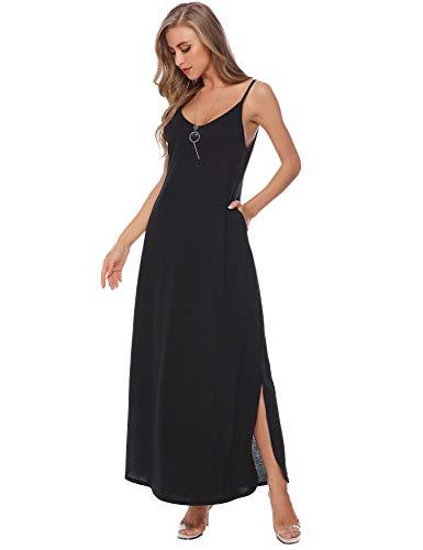 Aibrou Summer Maxi Dresses for Women Long Casual Loose Pocket Maxi Beach Dresses Black