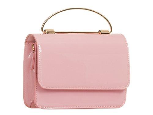 Women's Ladies KT824 Faux Patent Bag White Handbag Top Envelope Handle Clutch Wallet Purse qxXx1Pw