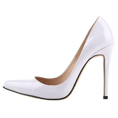 Loslandifen Womens Shoes Closed Toe High Heels Women's Pointed Slender Leather Pumps (39 M EU/8.5 B(M)US, white)