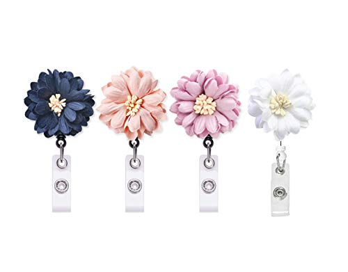 Retractable Badge Holder, ADEJIAYI ID Badge Reel with Alligator Clip, Nurse Badge Holder with Daisy, 4 Pack (Daisy Badge Clip)
