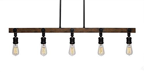 Portland 1 Bulb - Toltec Lighting 1135-AT18 Portland 5 Light Island Bar with Bulbs, Amber Antique