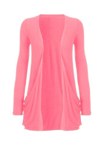 Hot Hanger Ladies Plus Size Pocket Long Sleeve Cardigan 16-26 (24-26 XXXL, Coral)