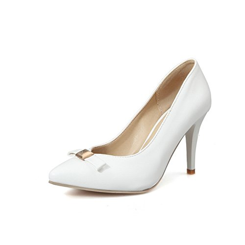 BalaMasa Womens Pointed-Toe Spikes Stilettos Low-Cut Uppers Urethane Pumps Shoes White 4s8Xkbje