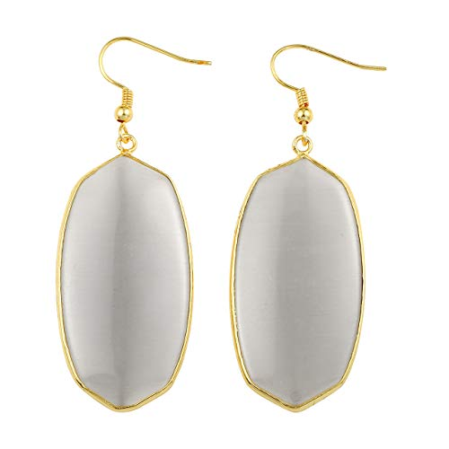 JOVIVI Gold Plated Metal Oval Cat's Eye Crystal Quartz Drop Dangle Earrings for Women Cat Eye Oval Earrings