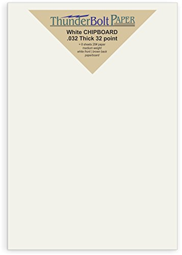 300 Sheets Chipboard 32pt white 1 side - 5'' X 7'' (5X7 Inches) Photo|Card|Frame Size - Medium Weight Thickness PaperBoard .032 (point) Caliper White Coated on Brown Kraft Cardboard Paper by ThunderBolt Paper